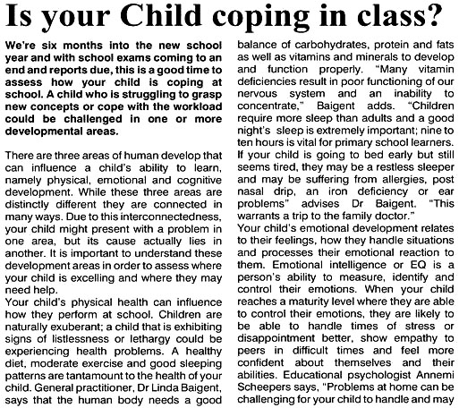 Is Your Child Coping in Class?