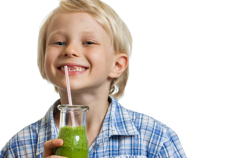 Boy drinking a smoothie