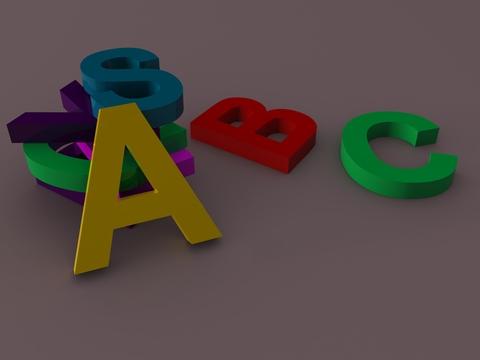 Colourful alphabet letters