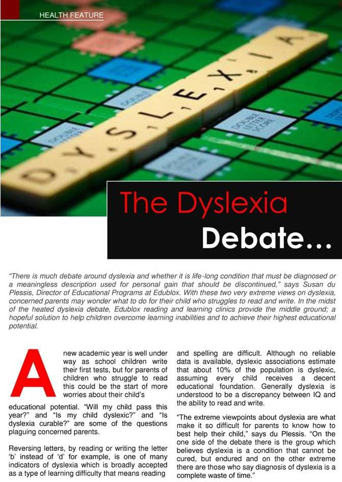 Dyslexia Debate 1