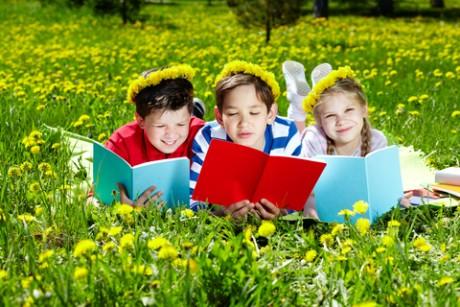 Children Reading in Park