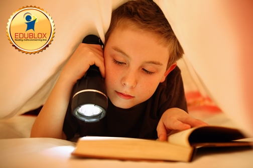 Boy reading under covers
